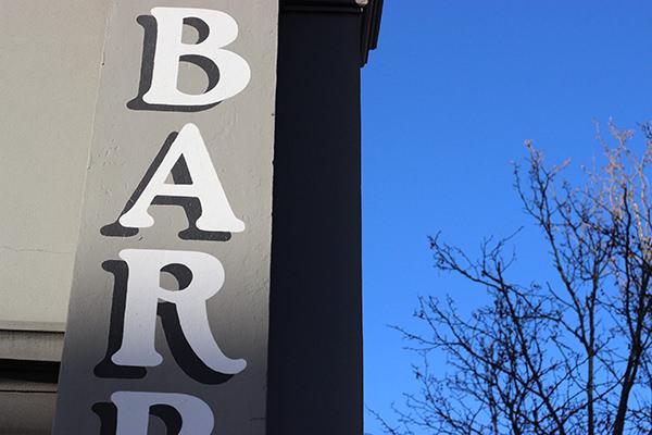 Barber shop exterior, Russell Street